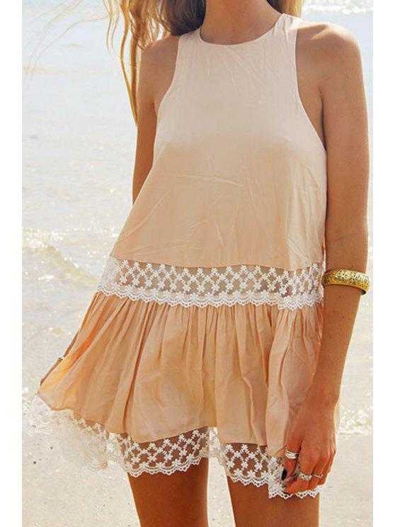 womens Lace Splicing Round Neck Dress - KHAKI XL