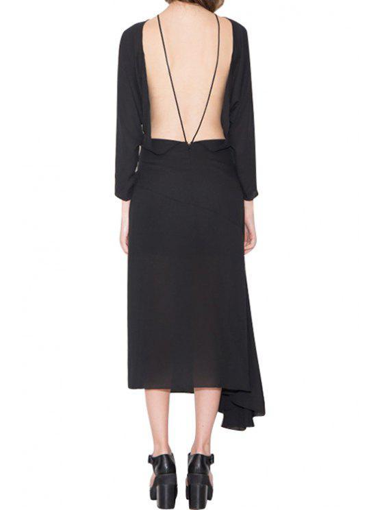 shop Backless Asymmetrical Solid Color Long Sleeve Dress - BLACK XL