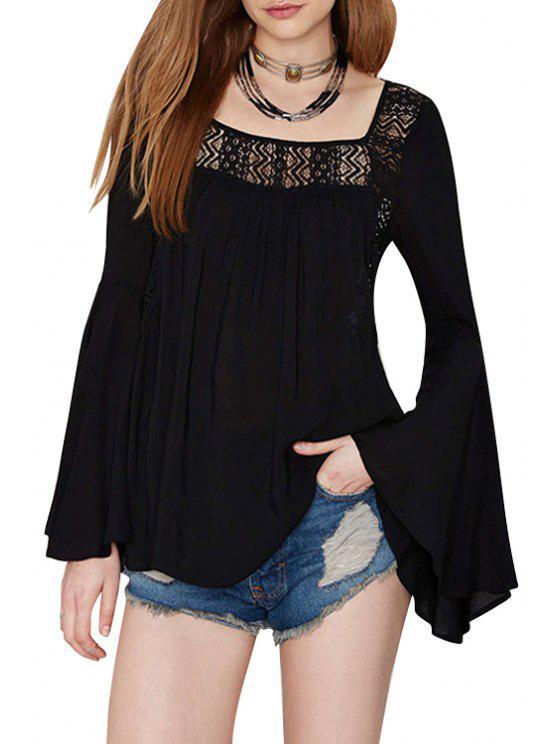 Cuello cuadrado color sólido a cielo abierto de Bell de la manga de la camiseta - Negro L