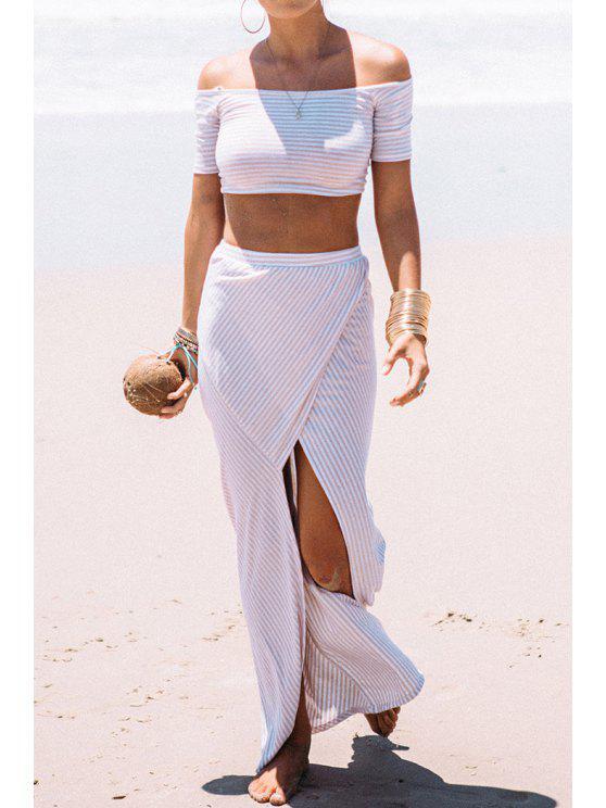 fashion Stripes T-Shirt + High Slit Skirt Twinset - WHITE S