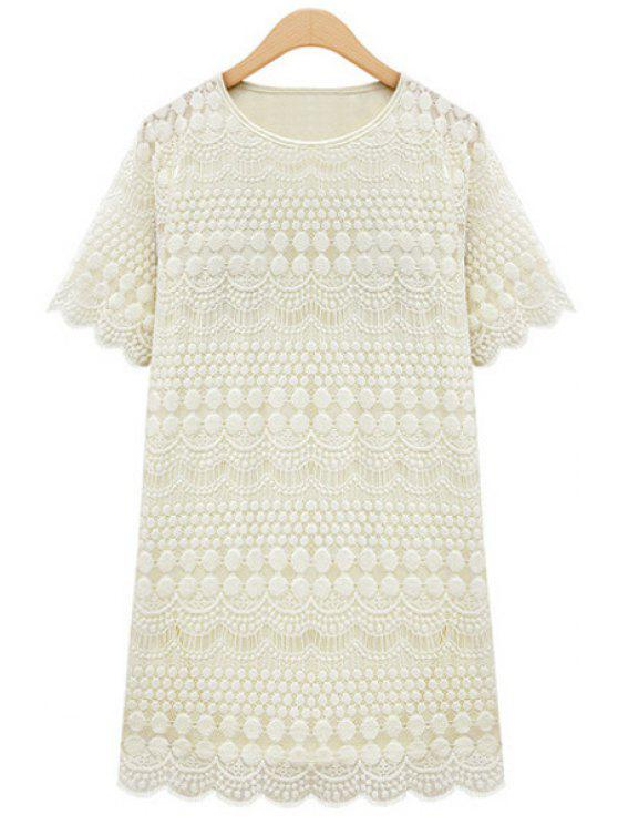 fashion Polka Dot Solid Color Lace Short Sleeve Dress - WHITE L