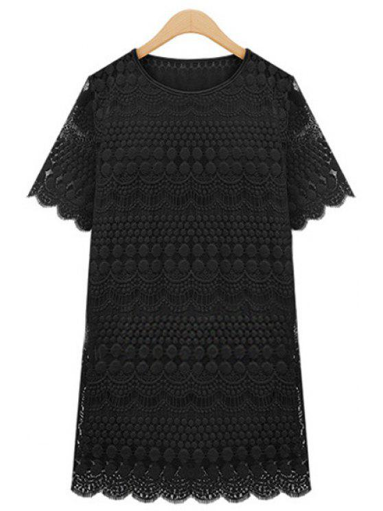 lady Polka Dot Solid Color Lace Short Sleeve Dress - BLACK XL