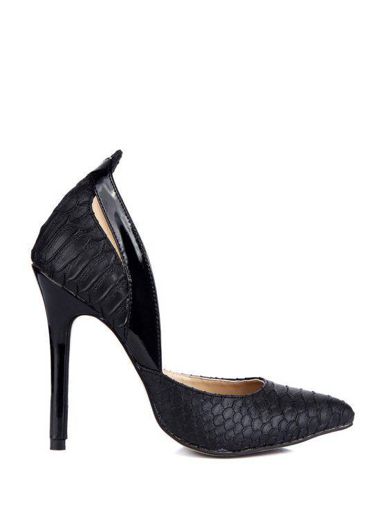 womens Snakel Print Pointed Toe Pumps - BLACK 35