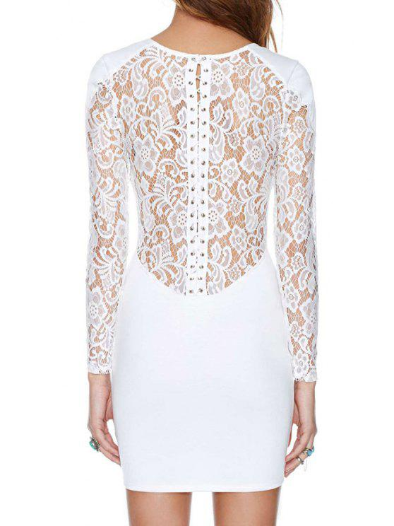 women Back See-Through Lace Splicing Dress - WHITE S