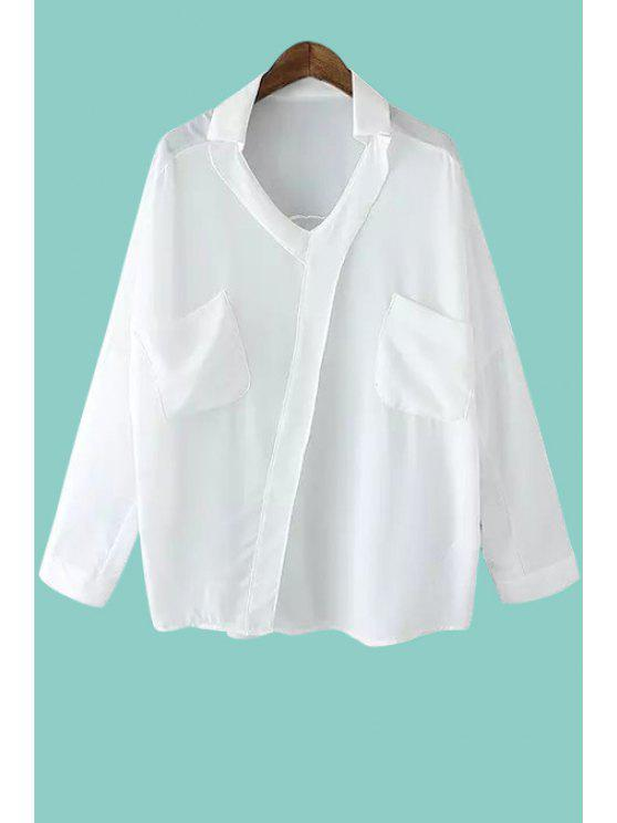 ladies Half Sleeve Two Pocket White Shirt - WHITE ONE SIZE(FIT SIZE XS TO M)
