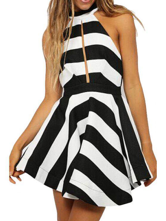 ladies Stripe A-Line Sleeveless Dress - STRIPE S