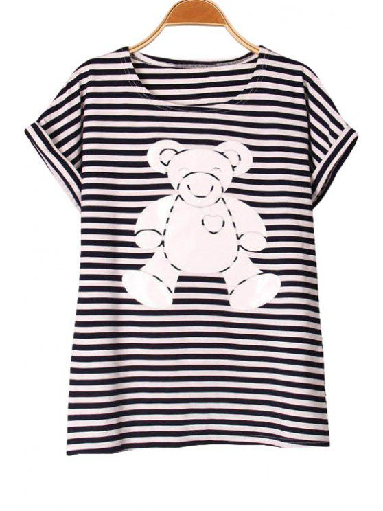 unique Bear Print Short Sleeve T-Shirt - WHITE S