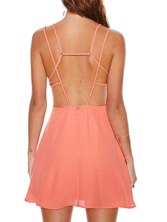 women's Spaghetti Strap Cross Solid Color Backless Dress - ORANGE S