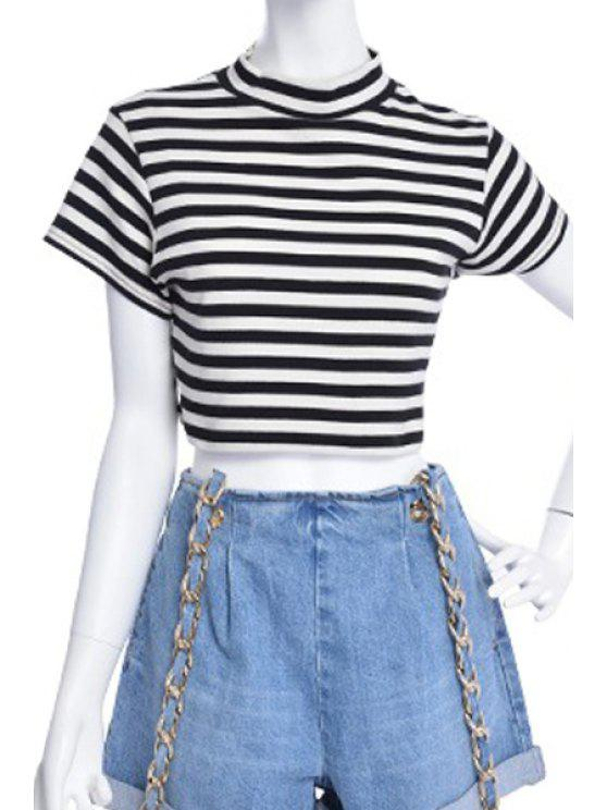 affordable Turtle Neck Striped Crop Top - WHITE AND BLACK M