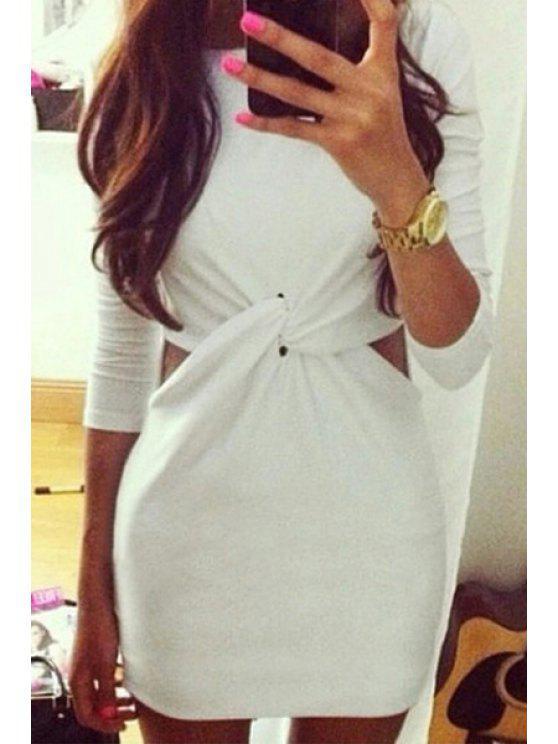 buy Waist Openwork Cross Long Sleeve Dress - WHITE S