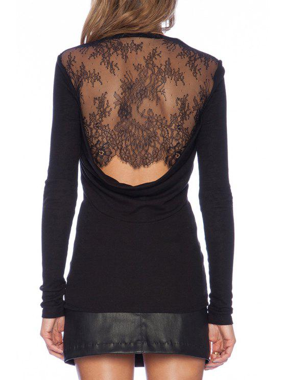 best Lace Spliced Black Long Sleeve T-Shirt - BLACK S