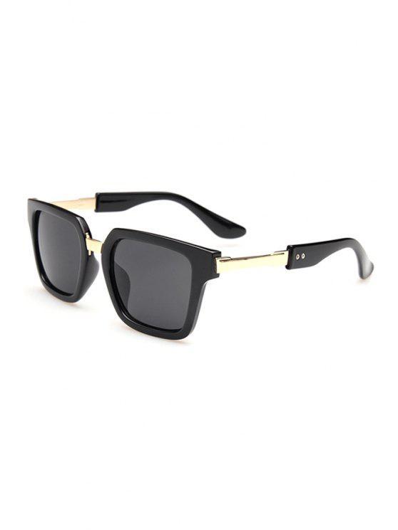 fancy Metallic Splice Square Sunglasses - DEEP GRAY