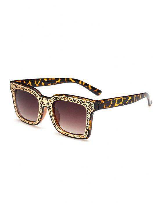 sale Leopard Hollow Out Alloy Carve Sunglasses - DEEP BROWN