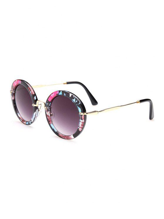 women Flower Pattern Round Sunglasses - BLACK
