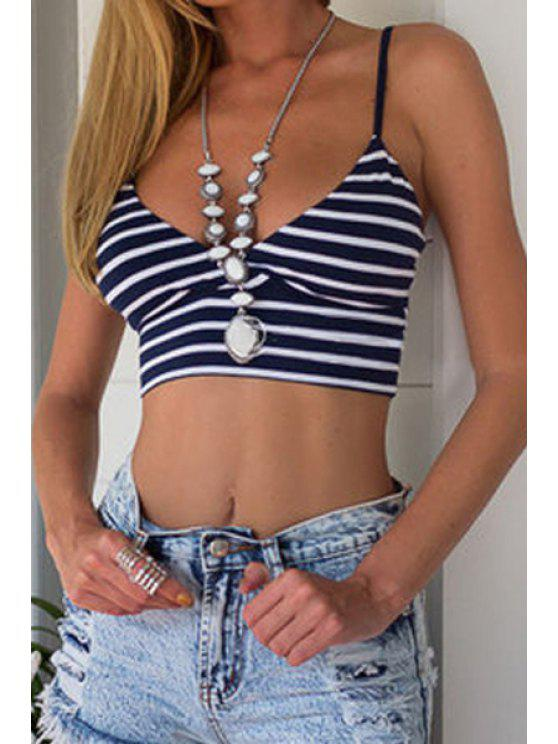 women Spaghetti Straps Striped Crop Top - BLUE AND WHITE S