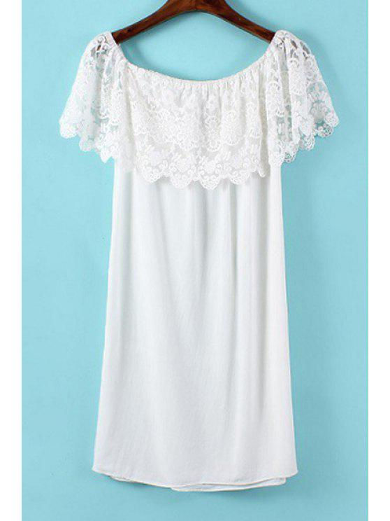 women Slash Neck White Lace Splicing Dress - WHITE S