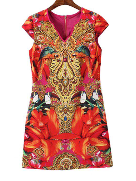 women Abstract Floral Print Short Sleeve Dress - RED S