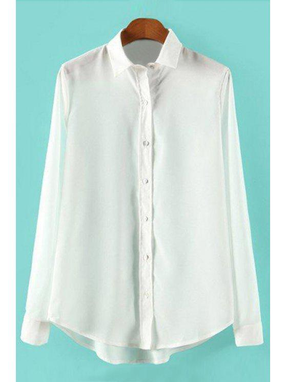 shops Solid Color Polo Collar Asymmetrical Shirt - WHITE S
