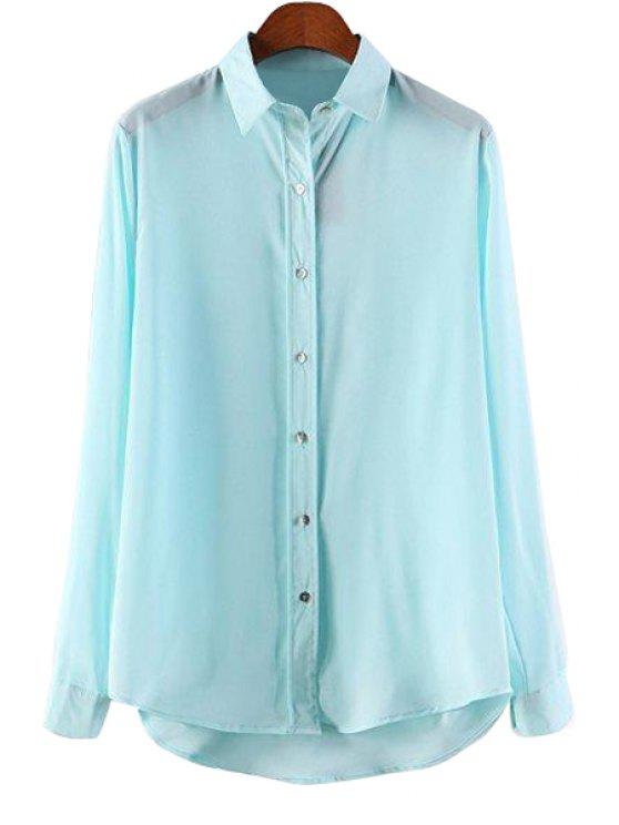 Solid color polo collar asymmetrical shirt mint green for Mint color polo shirt