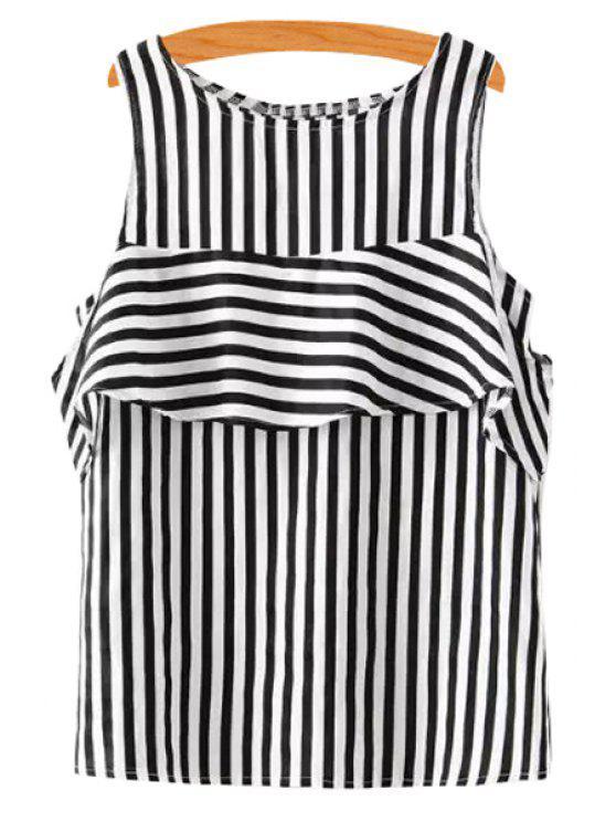 ladies Stripe Flounce Splicing Sleeveless Tank Top - BLACK S