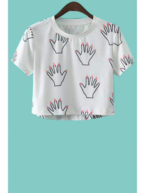chic Palm Print Short Sleeve Crop Top - WHITE S