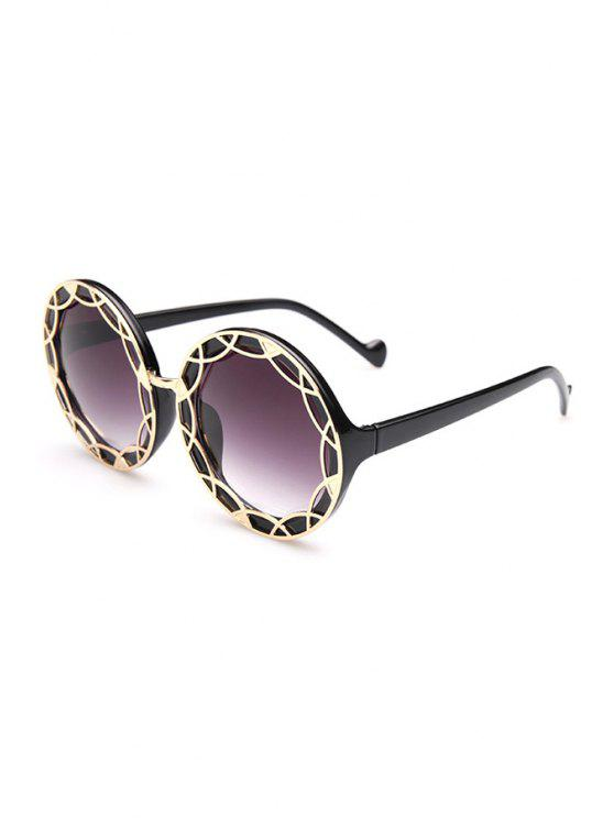 outfit Hollow Out Alloy Round Sunglasses - BLACK