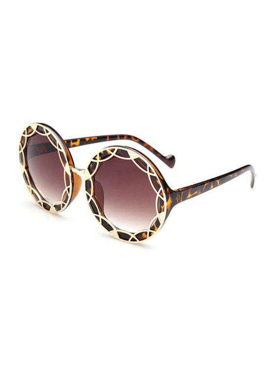 fashion Leopard Hollow Out Alloy Transparent Sunglasses - DEEP BROWN