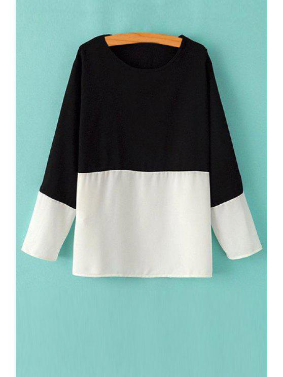 womens Black White Splicing Long Sleeve T-Shirt - WHITE AND BLACK S