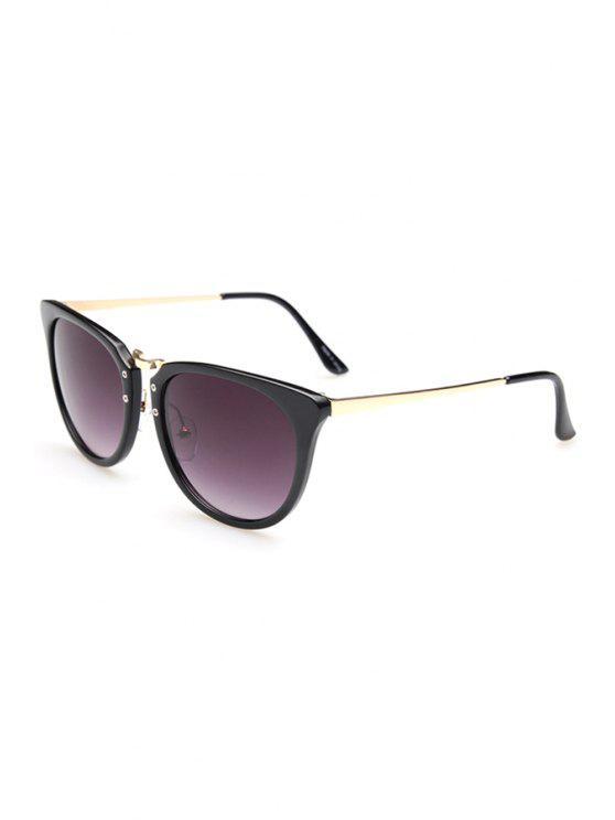 women Alloy Splice Oval Frame Sunglasses - BLACK