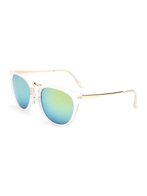 online Alloy Splice Transparent Frame Sunglasses - GREEN