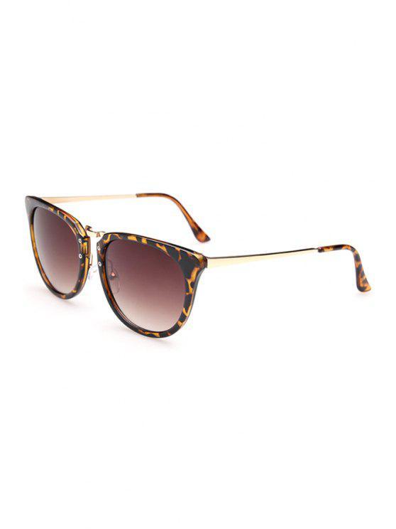 hot Alloy Splice Leopard Frame Sunglasses - DEEP BROWN