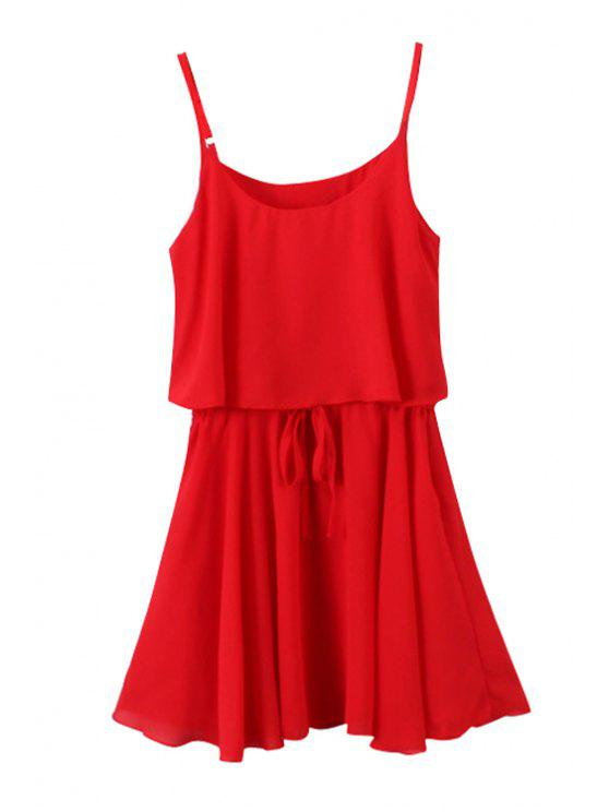 women Spaghetti Strap Solid Color Tie-Up Ruffle Dress - RED ONE SIZE(FIT SIZE XS TO M)