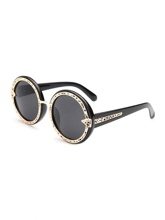 outfits Hollow Out Golden Alloy Splice Sunglasses - BLACK