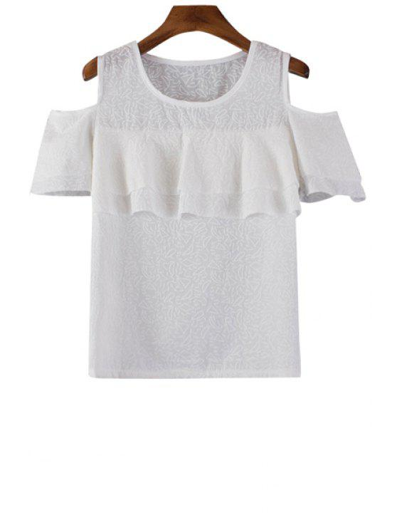 outfit Solid Color Flounce Splicing Short Sleeve T-Shirt - WHITE ONE SIZE(FIT SIZE XS TO M)