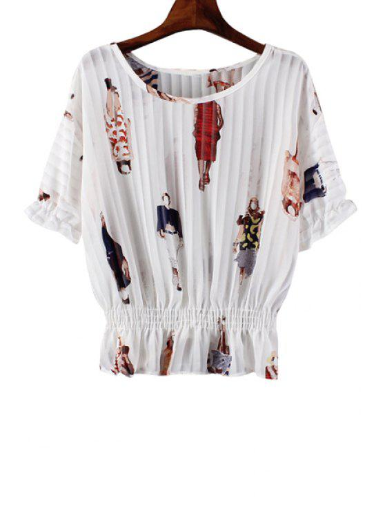 shop Figure Print Elastic Waist Short Sleeve Blouse - AS THE PICTURE ONE SIZE(FIT SIZE XS TO M)