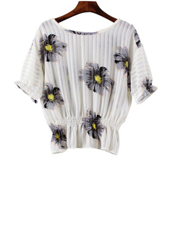 latest Floral Print Elastic Waist Short Sleeve Blouse - WHITE ONE SIZE(FIT SIZE XS TO M)