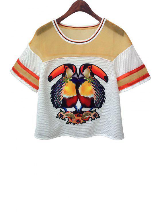 women's Round Neck Parrot Print See-Through T-Shirt - ORANGE S
