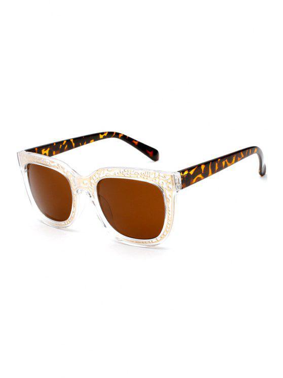 trendy Leopard Splice Transparent Frame Sunglasses - LEOPARD