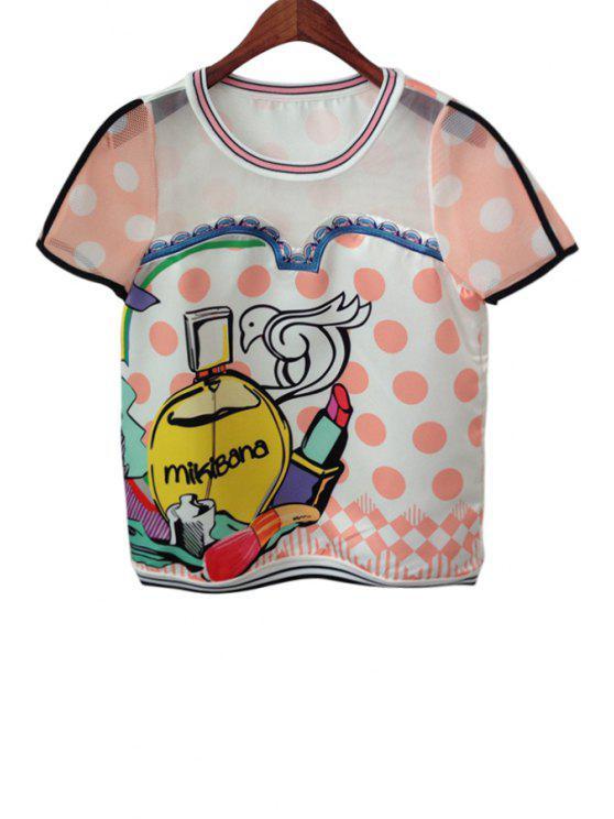 womens Short Sleeve See-Through Spliced T-Shirt - PINK S