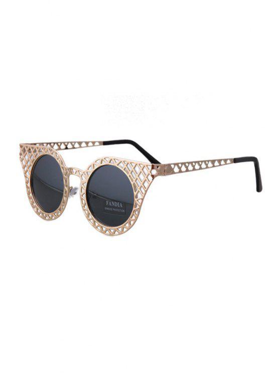 best Hollow Out Golden Mesh Sunglasses - DEEP GRAY
