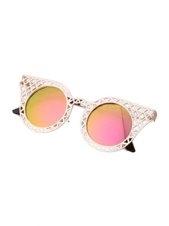 new Hollow Out Golden Mesh Sunglasses - PINK