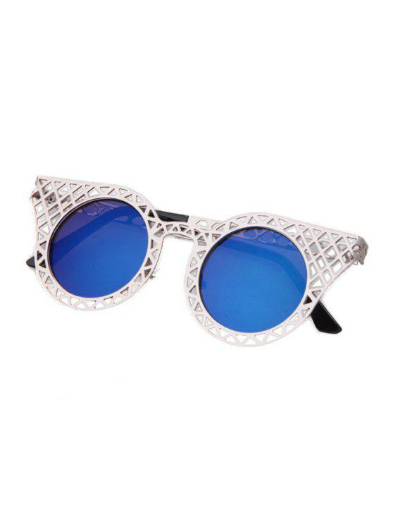 outfits Hollow Out Silver Mesh Sunglasses - BLUE