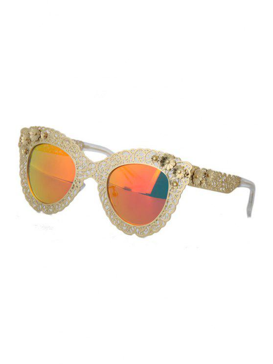 affordable Hollow Out Alloy Carve Flower Sunglasses - RED