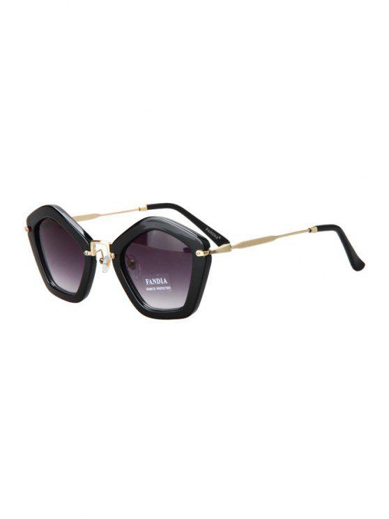 womens Pentagonal Frame Sunglasses - BLACK