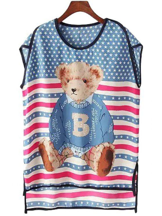 buy Star Bear Print High Low Short Sleeve Dress - BLUE ONE SIZE(FIT SIZE XS TO M)