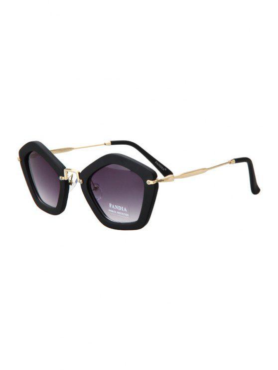 women's Matte Black Pentagonal Frame Sunglasses - BLACK