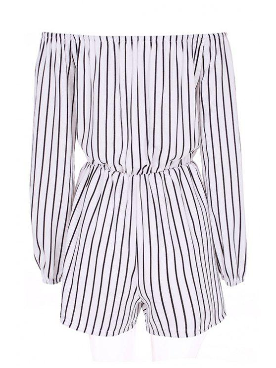 best Stripe Slash Neck Long Sleeve Romper - STRIPE S