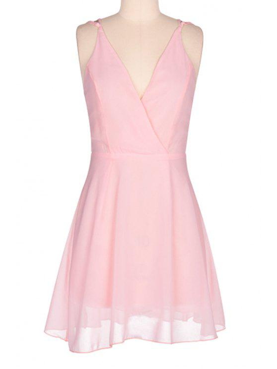 fancy Pink Spaghetti Strap Open Back Dress - PINK S