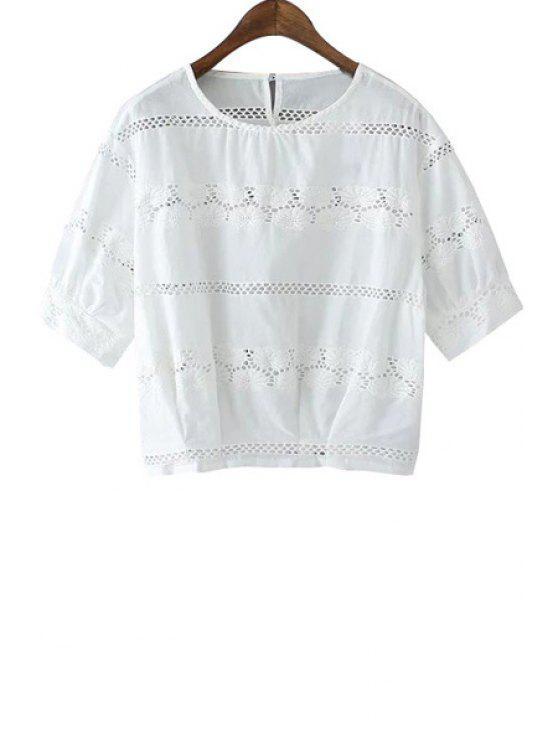 online Jewel Neck Openwork Floral Pattern T-Shirt - WHITE S