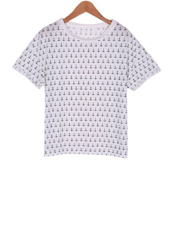best Full Anchor Print Short Sleeve T-Shirt - WHITE M